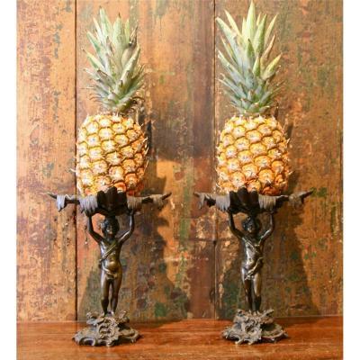Paire De Porte- Ananas XIXème En Bronze