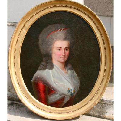 """Peinture Ovale XVIIIème """"portrait De femme élégante"""""""