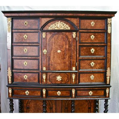 Cabinet XVIIIème En Placage d'époque Louis XIV