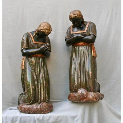Paire De Statues Polychrome Italienne XVIIIème