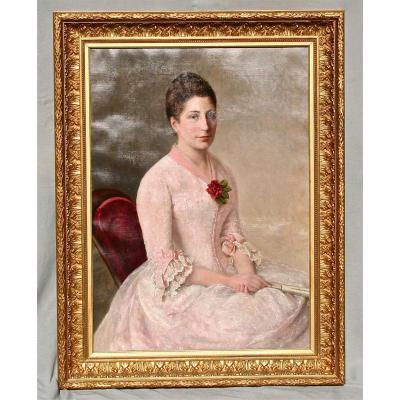 Nineteenth Painting Elegant Woman At The Rose, Golden Framing