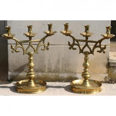 Pair Bronze Candlesticks