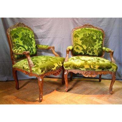Pair Of Armchairs In The Queen XVIII Louis XV Flat Backrest