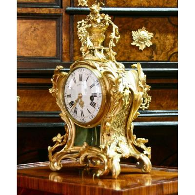 Gilt Bronze 18th Century Cartel Clock From Bigan