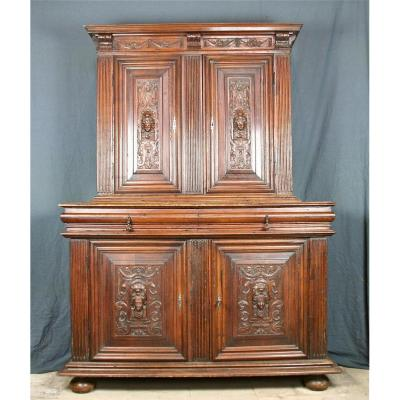 Buffet 2 Corps Renaissance XVII Carved Walnut