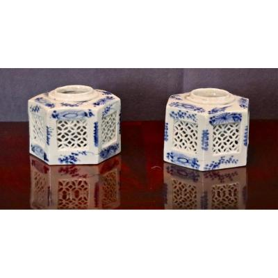 Pair Of Inkwell XIX Porcelain From China
