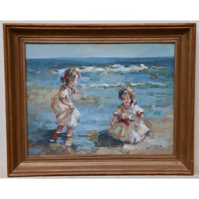 """peinture XXème """"enfants sur la plage """" de Francis CRISTAUX"""