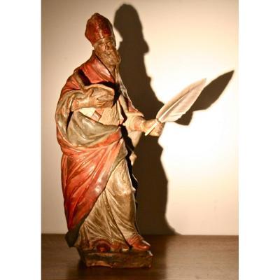 Saint Luc Italien En Terre Cuite Polychrome XVIIIème