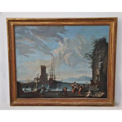 """Peinture XVIIIème d'Après Vernet """"scène De Port Animée"""""""