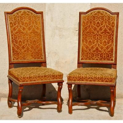 Pair Of Louis XIV Chairs In Walnut