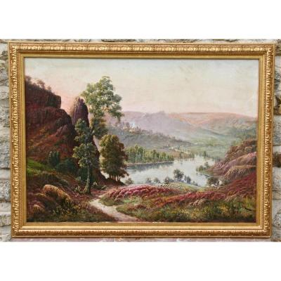 """Peinture XIXème De Gaston Anglade """"paysage De Bruyères"""""""