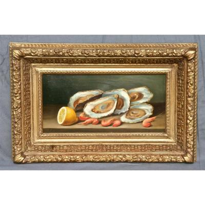 Painting XIXth Still Life With Oysters Of G.bihet