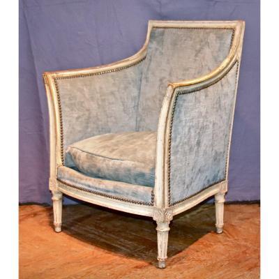 19th Century Rechampi Bergère Fireside Chair Louis XVI Style