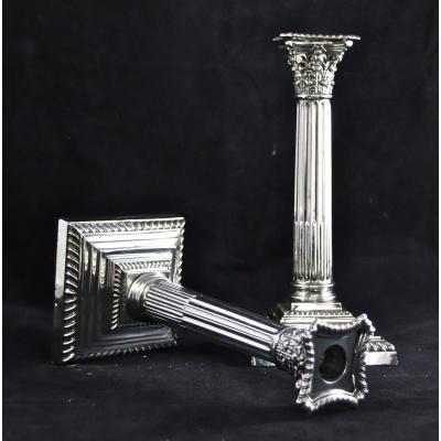Pair Of Candlesticks Twentieth In Sterling Silver