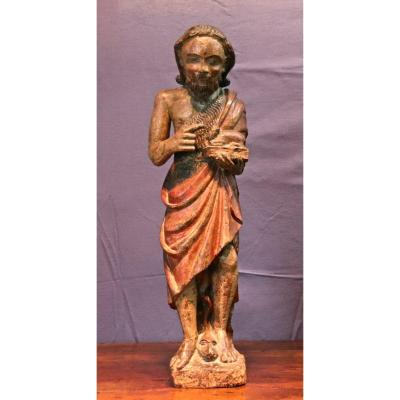 Statue Sculpture XVIIème De Saint Jean Baptiste
