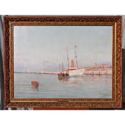 Peinture d'Henri Malfroy Dit Savigny Port De Cannes