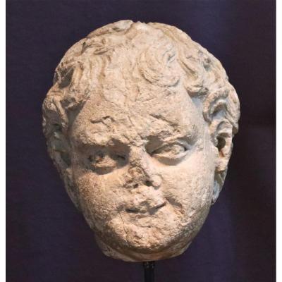 Sculpture XVIIème Tête De Putto En Pierre Calcaire