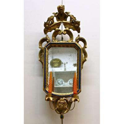 Miroir Vénitien En Bois Doré d'Époque XVIIIème avec lumières