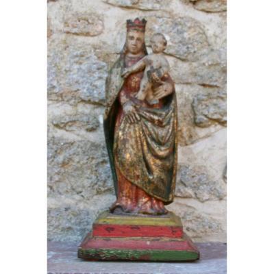 Virgin And Child XVIIth Century Polychrome Wood