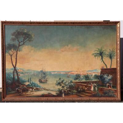 Grande Peinture Marine XIXème Vue Du Port d'Antibes Dans l'Esprit De Vernet