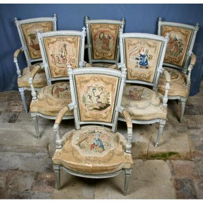 Suite Of 6 XVIIIth Century Louis XVI Armchairs With Chinese Tapestry