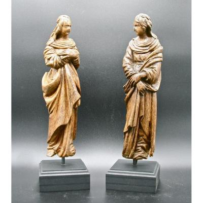 Pair Of Religious Sculptures In 18th Century Oak