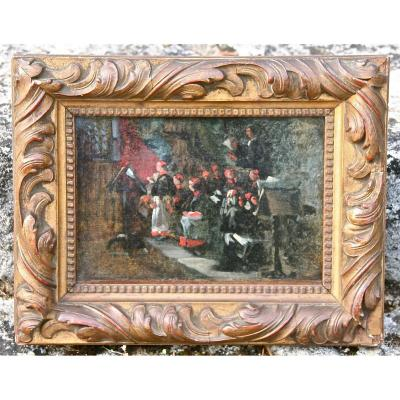 Peinture XIXème Les Enfants De Choeur À l'Office