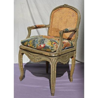 18th Century Cane Armchair With Flat Back