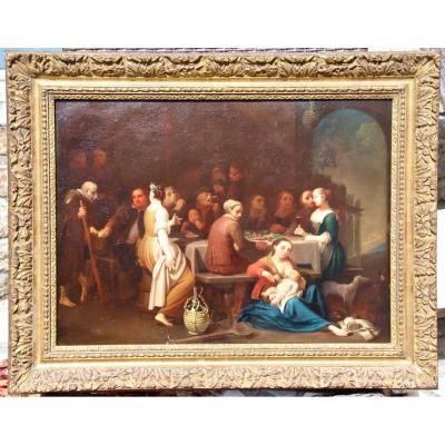 Grande Peinture Sur Cuivre XVIIème Scène De Fête