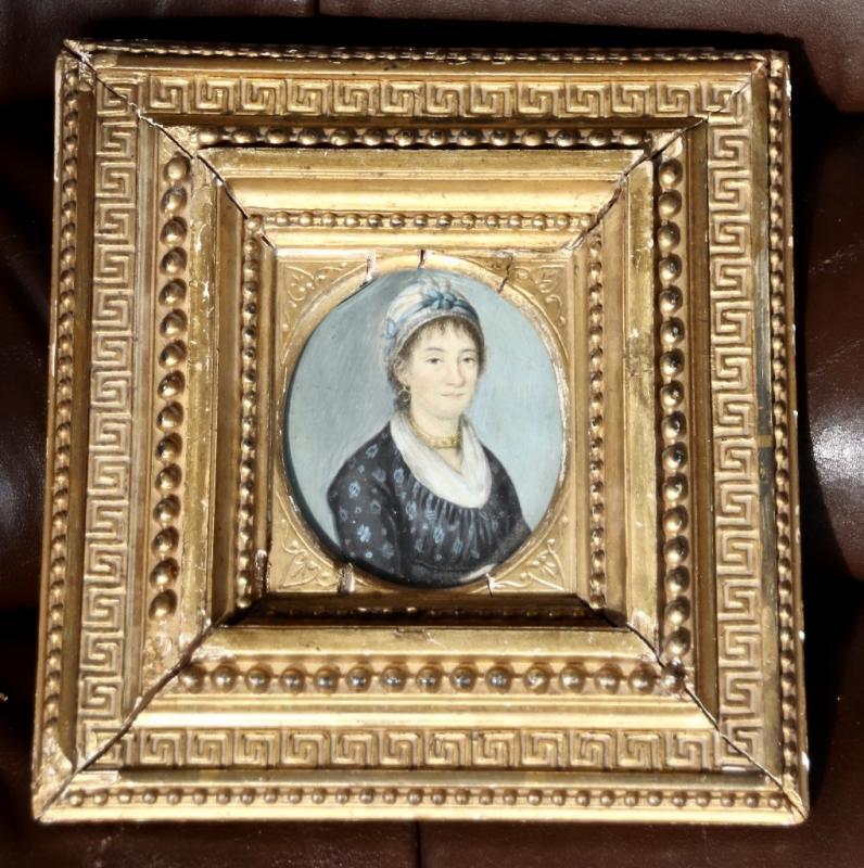 Peinture Portrait Miniature XIXème De Femme Au Collier-photo-3