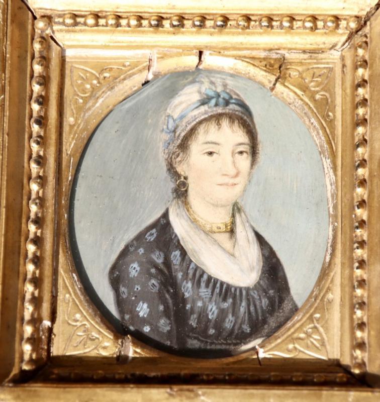 Peinture Portrait Miniature XIXème De Femme Au Collier-photo-4