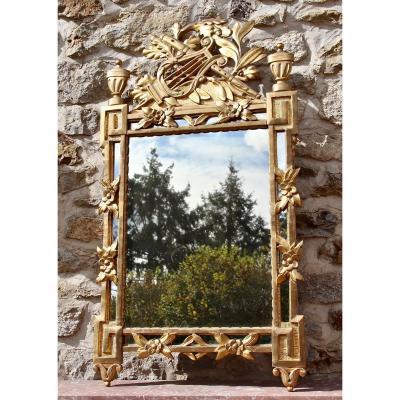 Miroir à Parclose XVIIIème De Style Louis XVI En Bois Doré