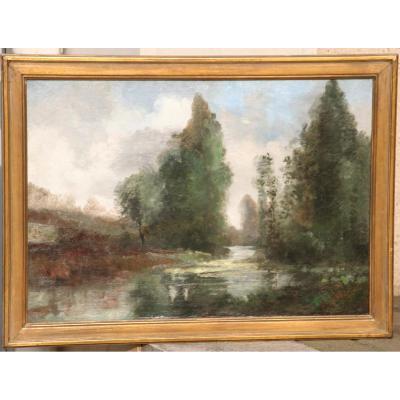 """Huile Sur Toile """"paysage De Rivière"""""""