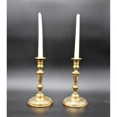 Paire De Bougeoirs Régence XVIIIème En Bronze Ciselé