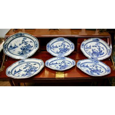 Ensemble De 6 Plats XVIIIème En Porcelaine De Chine bleu