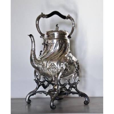 Samovar Rocail Style XIXth In Silver Metal