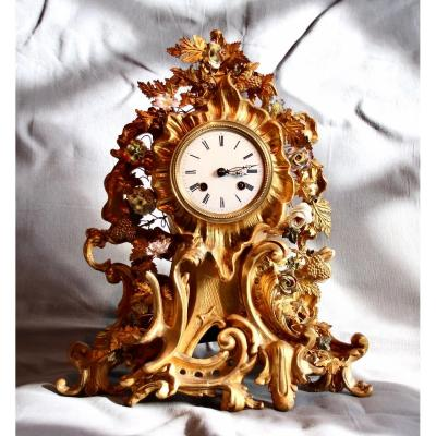 Nineteenth Clock In Golden Wood With Porcelain Flower Decor