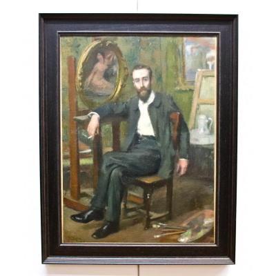 Peinture XIXème Autoportrait De Peintre Jean Diffre
