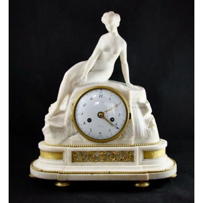 Louis XVI Pendulum Naked Woman In Carrara Marble