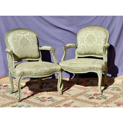 Pair Of Louis XV Style Louis XV Style Flat Back Armchairs From The XVIIIth Century