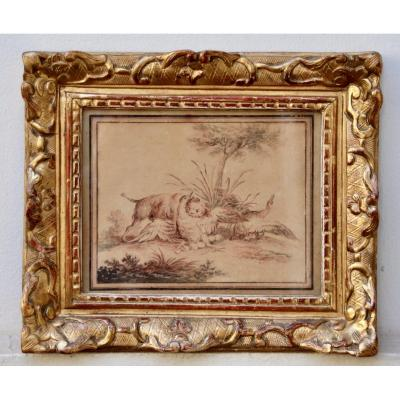 18th Century Hunting Dog Drawing After Oudry