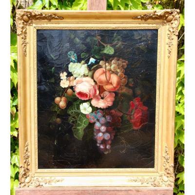 Peinture XIXème Nature Morte Aux Roses Et fruits