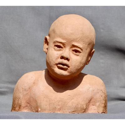 Buste d'Enfant En Terre Cuite XXème