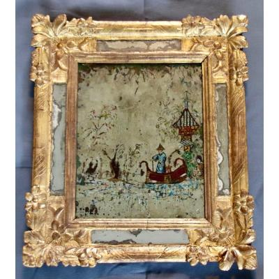 Mirror With Chinese Decor With Parclose In Golden Wood Eighteenth