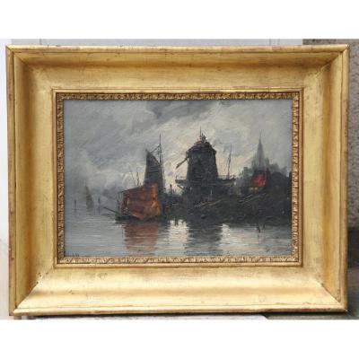 """Huile Sur Panneau """"bateaux au port"""""""