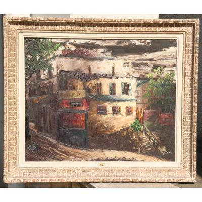 """Peinture """"rue Burnouf à Paris"""" De Léon Schwarz-Abrys"""