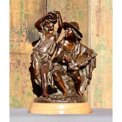 Bronze XIXth Group Of Emile Victor Blavier