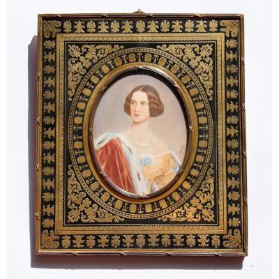 Miniature On Ivory Nineteenth Signed Stieler Brass Frame