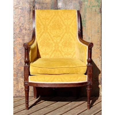 Directoire Style Cushion Bergère In Walnut