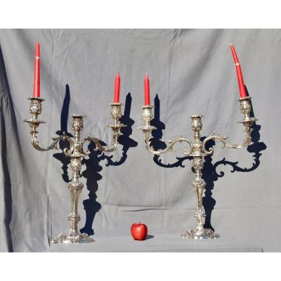 Large Pair Of Candelabra 3 Lights XIXth In Silver Bronze